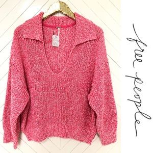 FREE PEOPLE PINK ROSE V-NECK SWEATER SIZE LARGE
